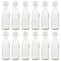 vidaXL Glass Bottle with Clip Closure 12 pcs 1 L