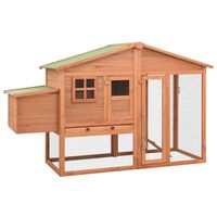 vidaXL Chicken Coop with Nest Box Solid Fir Wood