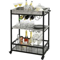 Sobuy 3 Tiers Kitchen Trolley Serving Trolley With Wine Rack,fkw56-hg