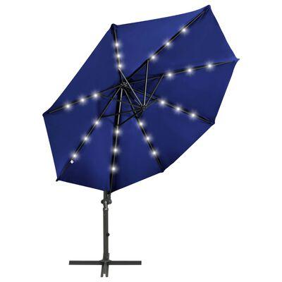 vidaXL Cantilever Umbrella with Pole and LED Lights Azure Blue 300 cm