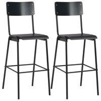 vidaXL Bar Chairs 2 pcs Black Solid Plywood Steel