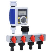 vidaXL Garden Digital Water Timer with Single Outlet and Water Distributor