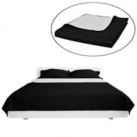 Double-sided Quilted Bedspread Black/White 230 x 260 cm