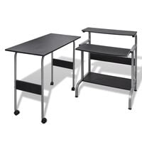 vidaXL 2 Piece Computer Desk with Pull-out Keyboard Tray Black