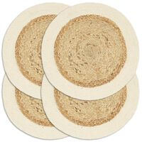 vidaXL Placemats 4 pcs Plain Natural 38 cm Round Jute and Cotton