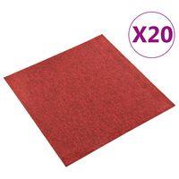 vidaXL Carpet Floor Tiles 20 pcs 5 m² 50x50 cm Red