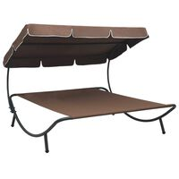 vidaXL Outdoor Lounge Bed with Canopy Brown