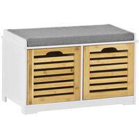 SoBuy Shoe Storage Bench with 2 Drawers & Removable Cushion,FSR23-K-W