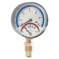 6 Bar 120C Thermo Pressure Gauge 1/2 Inch Side Entry 80mm