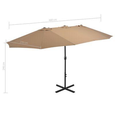 vidaXL Outdoor Parasol with Aluminium Pole 460x270 cm Taupe