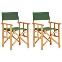 vidaXL Director's Chairs 2 pcs Solid Acacia Wood Green