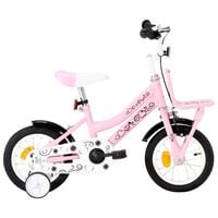 vidaXL Kids Bike with Front Carrier 12 inch White and Pink