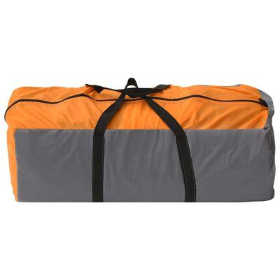 vidaXL Camping Igloo Tent 650x240x190 cm 8 Person Grey and Orange