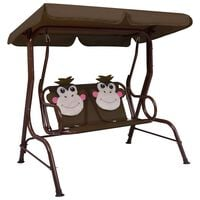 vidaXL Kids Swing Bench Brown 115x75x110 cm Fabric