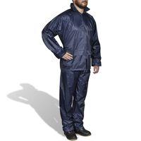 vidaXL Men's Navy Blue 2-Piece Rain Suit with Hood XL