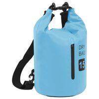 vidaXL Dry Bag with Zipper Blue 15 L PVC