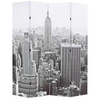 vidaXL Folding Room Divider 160x170 cm New York by Day Black and White