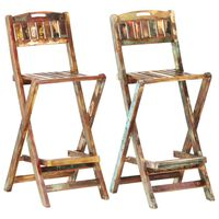 vidaXL Folding Outdoor Bar Chairs 2 pcs Solid Reclaimed Wood