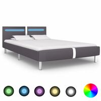 vidaXL Bed Frame with LED Grey Faux Leather 135x190 cm