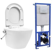 vidaXL Wall Hung Rimless Toilet with Concealed Cistern Ceramic White