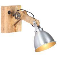 vidaXL Wall Lamp E27 Silver Solid Mango Wood and Iron