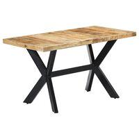 vidaXL Dining Table 140x70x75 cm Solid Rough Mango Wood