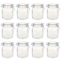 vidaXL Glass Jars with Lock 12 pcs 1 L