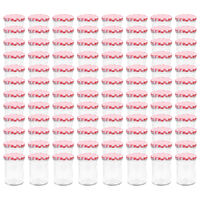 vidaXL Glass Jam Jars with White and Red Lid 96 pcs 400 ml