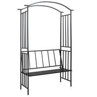 vidaXL Garden Arch with Bench Black 128x50x207 cm Iron