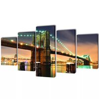 Canvas Wall Print Set Brooklyn Bridge 100 x 50 cm