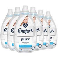 6x 870ml Comfort Ultimate Care Pure Fabric Conditioner 58w