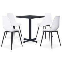 vidaXL 5 Piece Outdoor Dining Set Metal and PP White