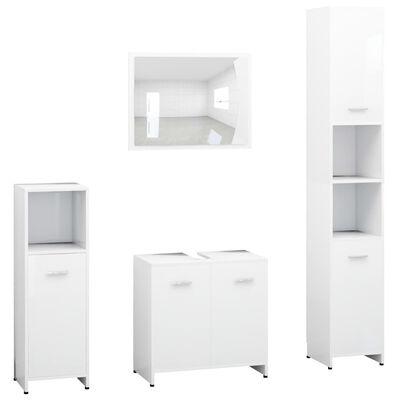 vidaXL 4 Piece Bathroom Furniture Set White Chipboard