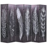 vidaXL Folding Room Divider 228x170 cm Feathers Black and White