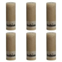 Bolsius Rustic Pillar Candles 6 pcs 190x68 mm Pastel Beige