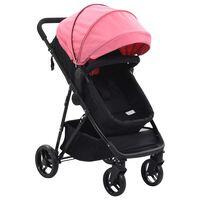 10162 vidaXL 2-in-1 Baby Stroller/Pram Pink and Black Steel