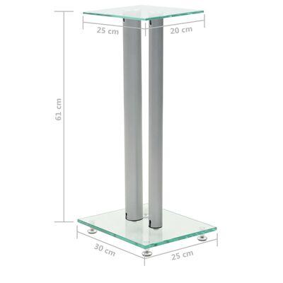 vidaXL Speaker Stands 2 pcs Tempered Glass 2 Pillars Design Silver