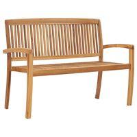 vidaXL 2-Seater Stacking Garden Bench 128.5 cm Solid Teak Wood