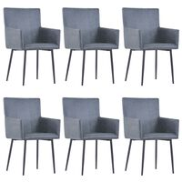 vidaXL Dining Chairs with Armrests 6 pcs Grey Faux Suede Leather