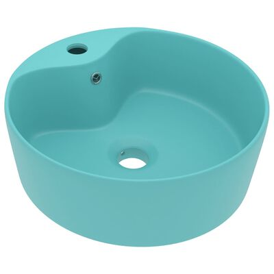 vidaXL Luxury Wash Basin with Overflow Matt Light Green 36x13 cm Ceramic