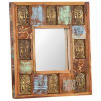 vidaXL Mirror with Buddha Cladding 50x50 cm Solid Reclaimed Wood