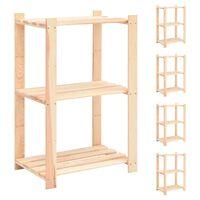 vidaXL 3-Tier Storage Racks 5 pcs 60x38x90 cm Solid Pinewood 150 kg