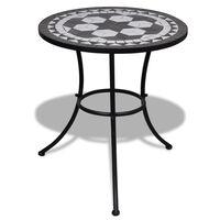 vidaXL Bistro Table Black and White 60 cm Mosaic