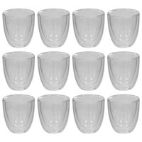 vidaXL Double Wall Thermo Glass for Espresso Coffee 12 pcs 80 ml