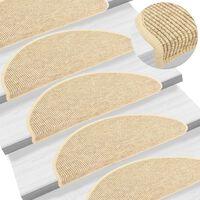 vidaXL Self-adhesive Stair Mats Sisal-Look 15 pcs 65x25 cm Beige