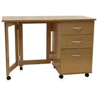 3 Drawer Folding Office Storage Filing Desk / Workstation - Oak