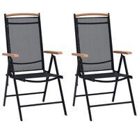 vidaXL Folding Garden Chairs 4 pcs Aluminium and Textilene Black