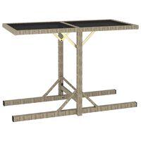 vidaXL Garden Table Beige 110x53x72 cm Glass and Poly Rattan