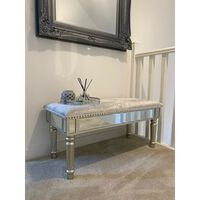 Antique Silver Mirrored Glass Grey Crushed Velvet Bedroom Window Bench