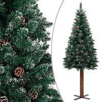 vidaXL Slim Christmas Tree with Real Wood and White Snow Green 180 cm